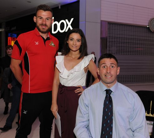 Doncaster Rovers player Andy Butler, Frances Bishop and Ben Parkinson at the Doncaster Free Press Superkids.