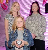 Daisy Watt is presented the winners award for Dynamic Fundraiser by Chief Executive's Young Advisors for Doncaster Children's Services Trust at the Doncaster Free Press Superkids.