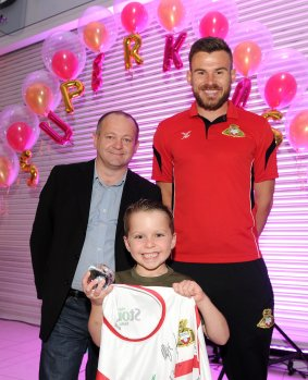 Liam Morrison is presented the winners award for Fearless Bravery by Andy Simpson and Andy Butler at the Doncaster Free Press Superkids.