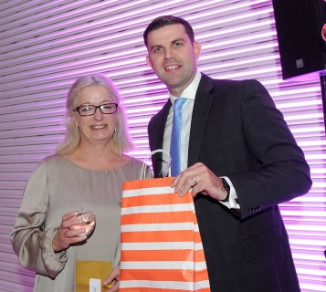 Tracey Sinnott is presented with the winners award for Golden Child by Paddy Mellon at the Doncaster Free Press Superkids.